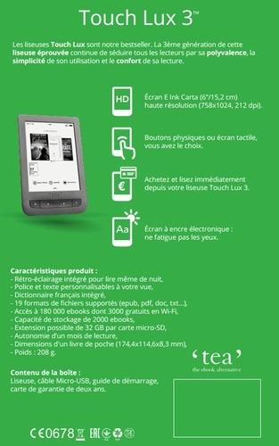 Liseuse éclairée Touch Lux 3 grise TEA