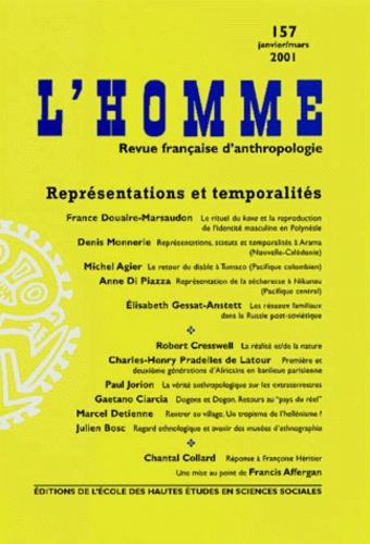 EHESS - L'Homme N° 157 Janvier-Mars 2001 : Représentations et temporalités.