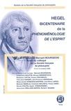 Bernard Bourgeois - Bulletin de la Société française de Philosophie  : Bicentenaire de la Phénoménologie de l'esprit.