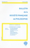 Thierry de Montbrial et Bernard Bourgeois - Bulletin de la Société française de Philosophie N° 2, Avril-juin 200 : L'informatique et la pensée.
