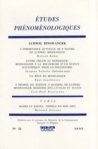 Roland Kuhn - Etudes phénoménologiques N° 21/1995 : Ludwig Binswanger.