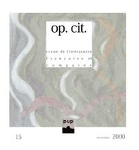 Annie Bertin et Didier Lechat - op. cit. N° 15, novembre 2000 : .