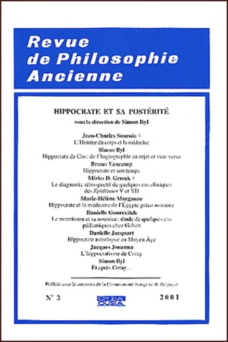 Lambros Couloubaritsis - Revue de Philosophie Ancienne Tome 19 N° 2/2001 : Hippocrate et sa postérité.