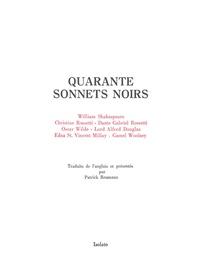 William Shakespeare et Christina Rossetti - Quarante sonnets noir.