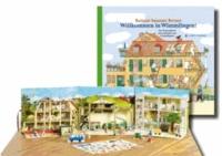 Willkommen in Wimmlingen! - Das Wimmelbuch zum Aufstellen, mit 34 Spielfiguren, 3 Szenen.
