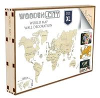 Wooden City - Carte du monde en bois - Taille XL. Puzzle 3D.