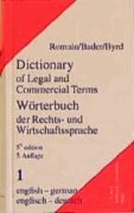 Wörterbuch der Rechts- und Wirtschaftssprache 1. Englisch - Deutsch.