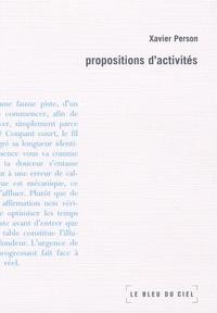 Xavier Person - Propositions d'activités.