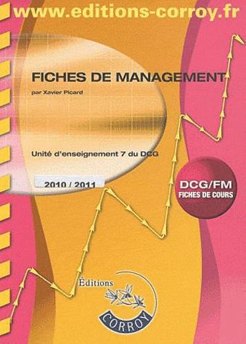 Xavier Picard - Fiches management DCG7 - Fiches de cours, exercices et corrigés.