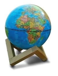 Deedr.fr Globe 14 cm bleu lumineux + support en bois Image