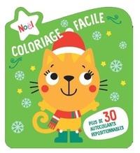 Yoyo éditions - Coloriage facile Noël, couverture verte - Avec plus de 30 autocollants repositionnables.