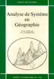 Yves Guermond et  Collectif - Analyse de système en géographie.