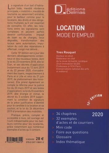 Location mode d'emploi  Edition 2020