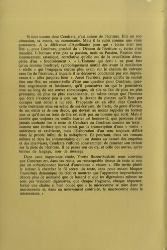 Blaise Cendrars ou la passion de l'écriture