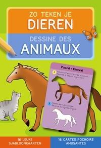 ZNU - Dessine des animaux - 16 cartes pochoirs amusantes.