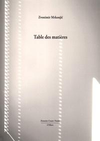 Zvonimir Mrkonjic - Table des matières.
